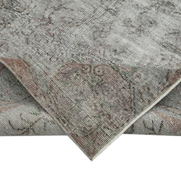 """Grey Over-dyed Vintage Hand-Knotted Turkish Rug - 4' 9"""" x 8' 2"""" (57 in. x 98 in.) - K0049416"""