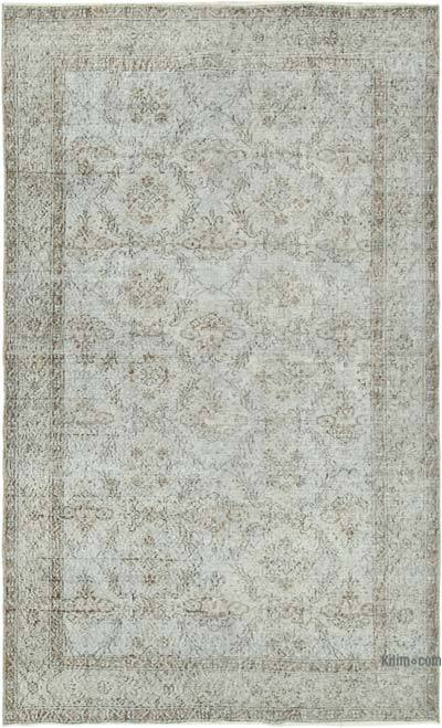 """Grey Over-dyed Vintage Hand-knotted Turkish Rug - 5' 6"""" x 9'  (66 in. x 108 in.)"""