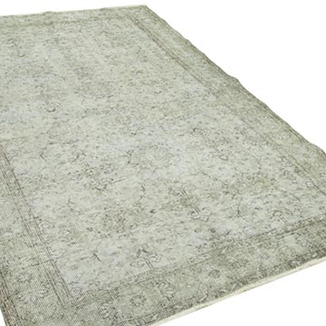 """Grey Over-dyed Vintage Hand-Knotted Turkish Rug - 5' 6"""" x 8' 10"""" (66 in. x 106 in.) - K0049423"""