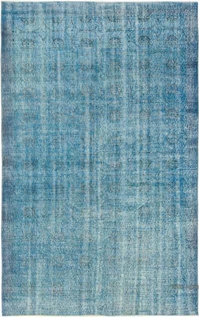 Azul Alfombra Turca Vintage Sobre-teñida - 185 cm x 287 cm