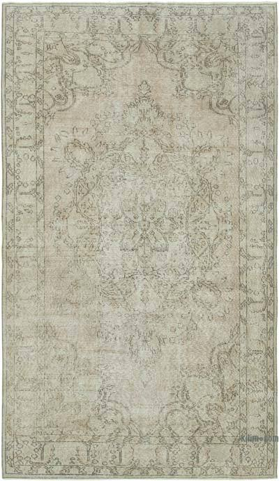 """Grey Over-dyed Vintage Hand-knotted Turkish Rug - 4' 11"""" x 8' 5"""" (59 in. x 101 in.)"""