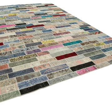 """Patchwork Hand-Knotted Turkish Rug - 9' 10"""" x 13' 4"""" (118 in. x 160 in.) - K0049453"""