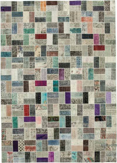 "Hand-knotted Turkish Patchwork Rug - 9' 9"" x 13' 7"" (117 in. x 163 in.)"
