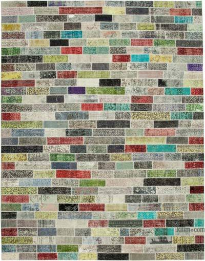 "Hand-knotted Turkish Patchwork Rug - 9' 11"" x 12' 8"" (119 in. x 152 in.)"