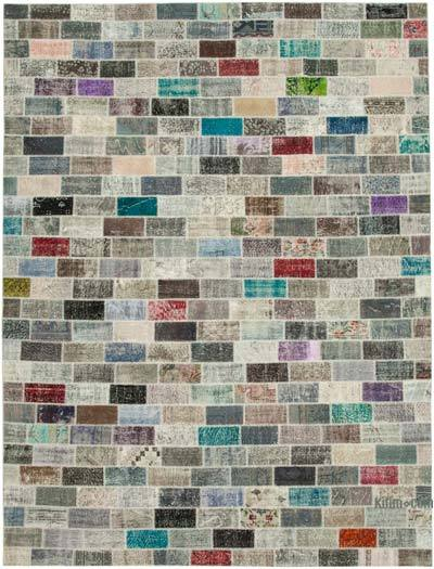"""Patchwork Hand-Knotted Turkish Rug - 9' 9"""" x 13' 1"""" (117 in. x 157 in.)"""