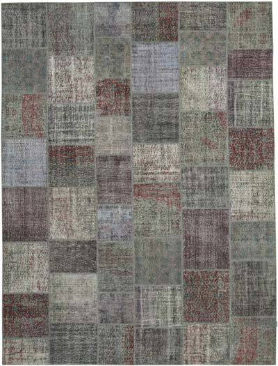 "Patchwork Hand-Knotted Turkish Rug - 9' 11"" x 13' 3"" (119 in. x 159 in.)"