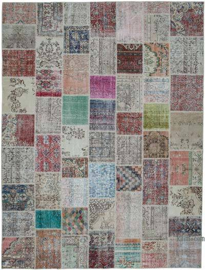 """Patchwork Hand-Knotted Turkish Rug - 9' 10"""" x 13' 2"""" (118 in. x 158 in.)"""