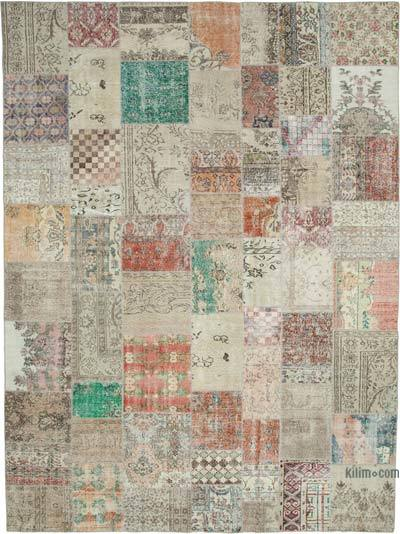 "Patchwork Hand-Knotted Turkish Rug - 9' 9"" x 13' 2"" (117 in. x 158 in.)"