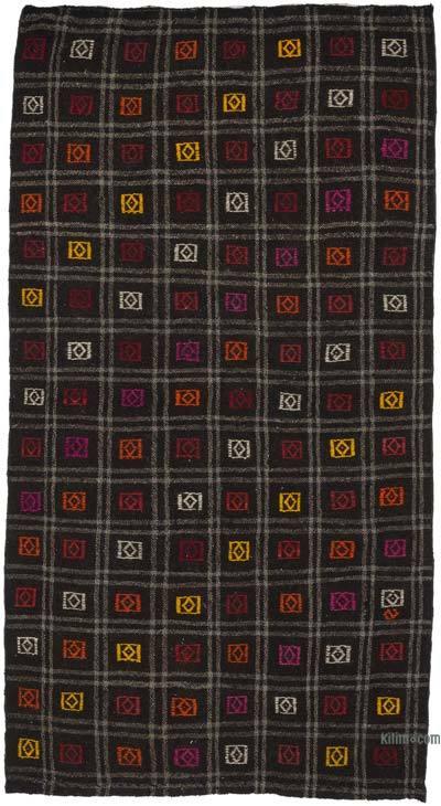 Kahverengi Vintage Anadolu Kilim - 119 cm x 221 cm