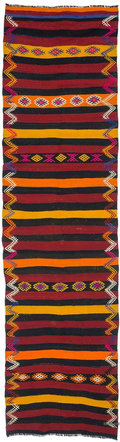 Kilim Vintage Turco De Pasillo - 100 cm x 375 cm