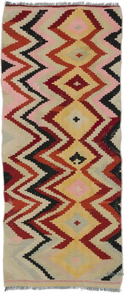 "Vintage Turkish Kilim Runner - 3'  x 7' 3"" (36 in. x 87 in.)"