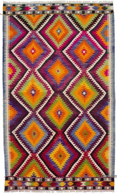"""Multicolor Vintage Antalya Kilim Rug - 5' 3"""" x 8' 9"""" (63 in. x 105 in.)"""