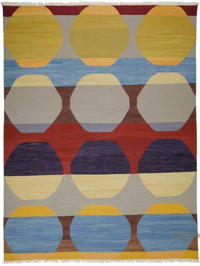 "Multicolor New Turkish Kilim Rug - 10' 3"" x 13' 7"" (123 in. x 163 in.)"