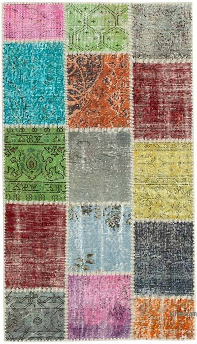 "Over-dyed Turkish Patchwork Runner Rug - 3' 1"" x 5' 5"" (37 in. x 65 in.)"