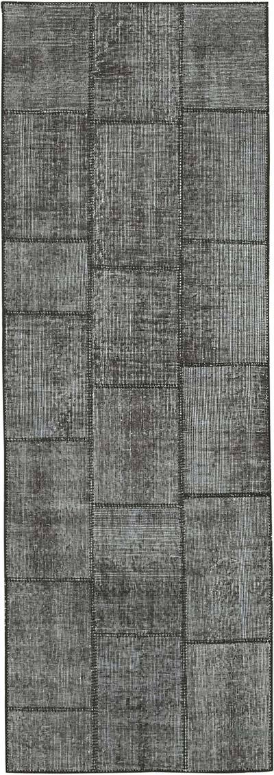 "Black Patchwork Hand-Knotted Turkish Runner - 2' 9"" x 8'  (33 in. x 96 in.)"