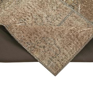 """Brown Patchwork Hand-Knotted Turkish Runner - 3'  x 7' 1"""" (36 in. x 85 in.) - K0049635"""