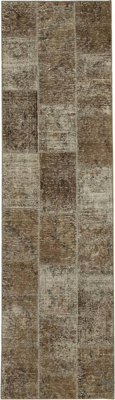 "Over-dyed Turkish Patchwork Runner Rug - 2' 10"" x 10'  (34 in. x 120 in.)"