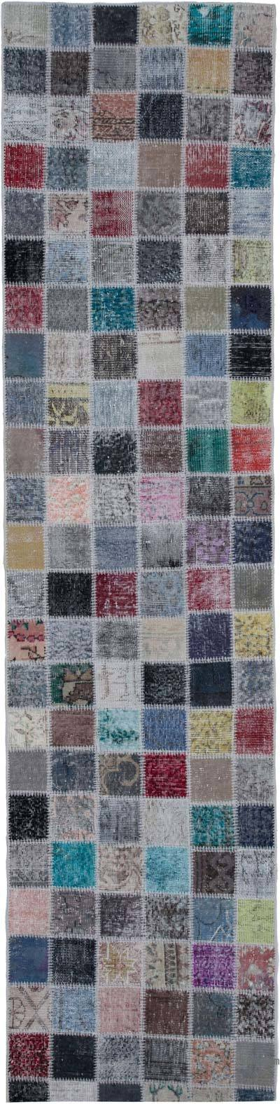 "Over-dyed Turkish Patchwork Runner Rug - 2' 10"" x 11' 6"" (34 in. x 138 in.)"