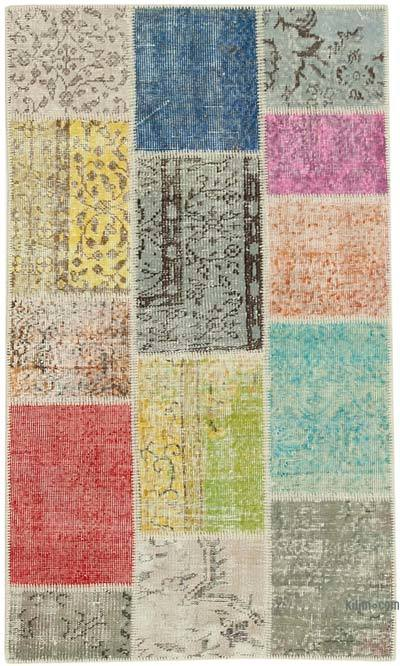 "Over-dyed Turkish Patchwork Runner Rug - 3' 1"" x 5' 3"" (37 in. x 63 in.)"