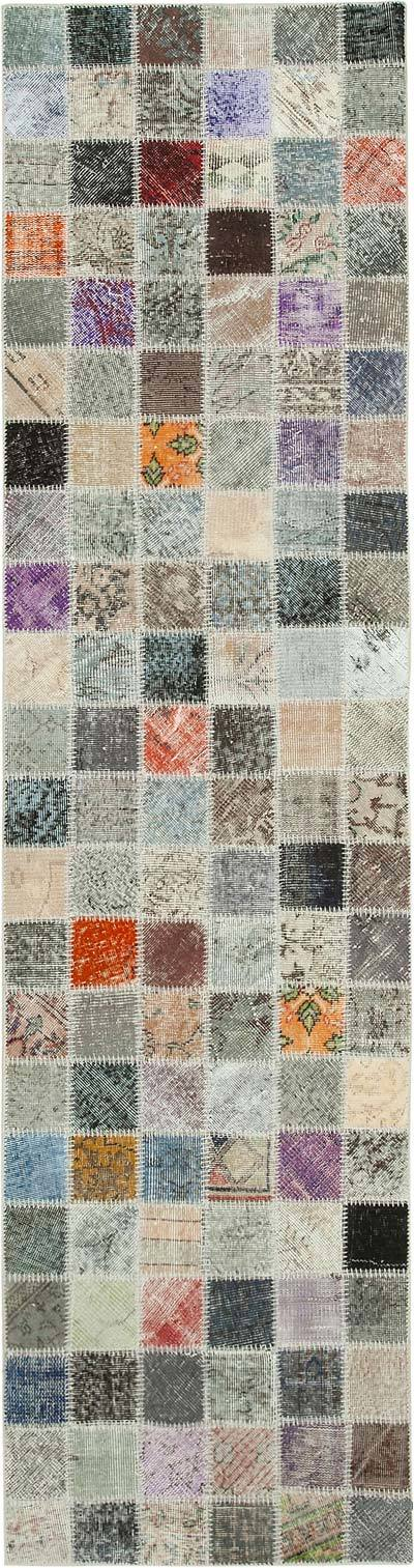 "Multicolor Patchwork Hand-Knotted Turkish Runner - 2' 10"" x 10' 7"" (34 in. x 127 in.)"