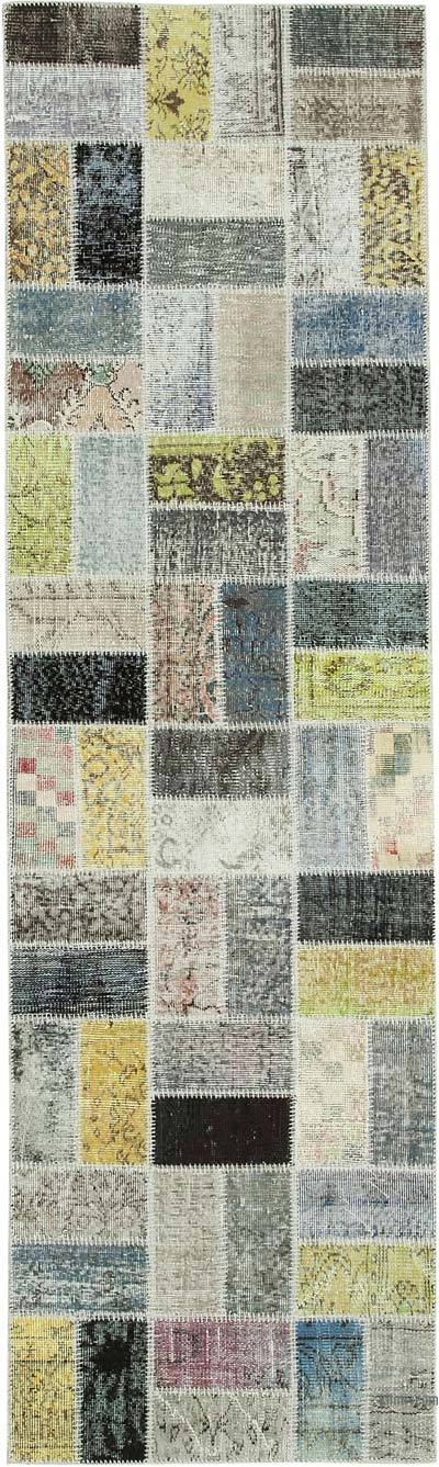 "Over-dyed Turkish Patchwork Runner Rug - 2' 10"" x 9' 8"" (34 in. x 116 in.)"