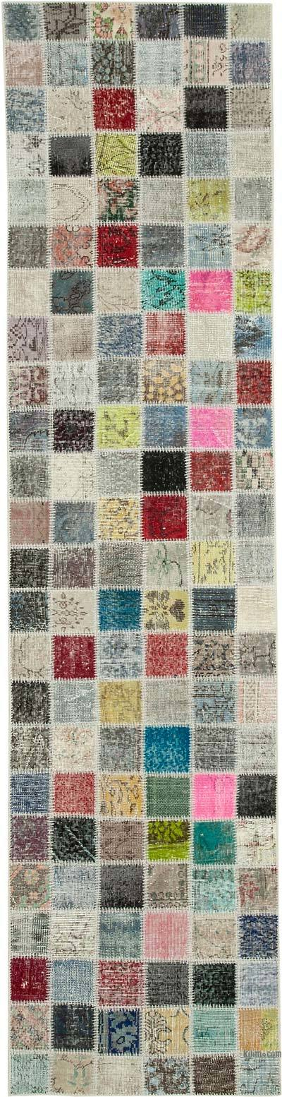 "Patchwork Hand-Knotted Turkish Rug - 2' 10"" x 11' 4"" (34 in. x 136 in.)"
