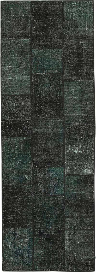 "Black Patchwork Hand-Knotted Turkish Runner - 2' 9"" x 8' 2"" (33 in. x 98 in.)"
