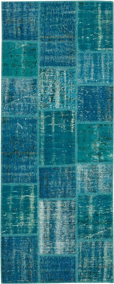 """Patchwork Hand-Knotted Turkish Rug - 2' 11"""" x 7' 3"""" (35 in. x 87 in.)"""