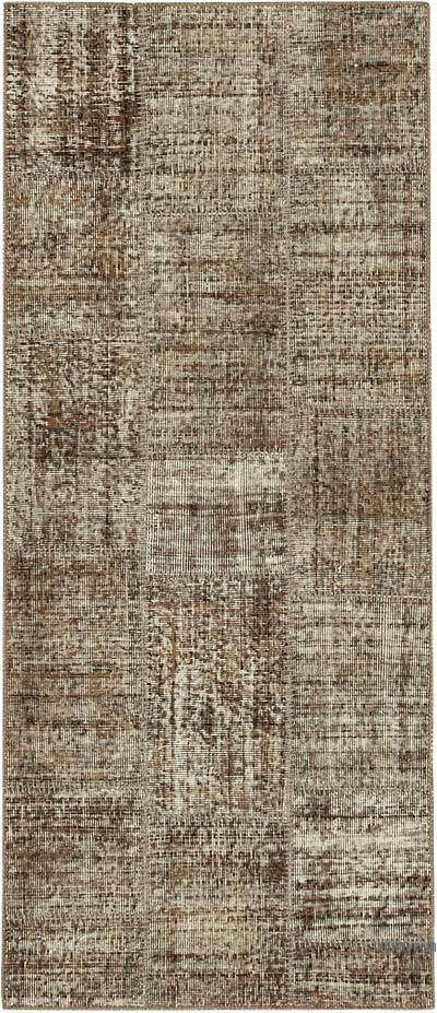 "Brown Patchwork Hand-Knotted Turkish Runner - 2' 10"" x 6' 8"" (34 in. x 80 in.)"