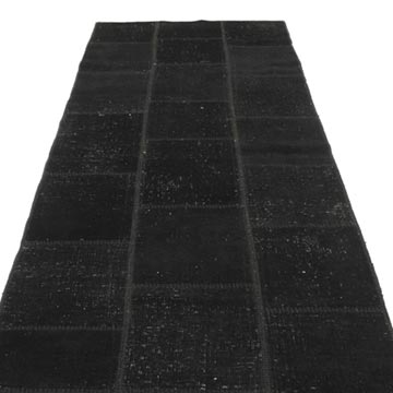 """Black Patchwork Hand-Knotted Turkish Runner - 2' 9"""" x 10' 2"""" (33 in. x 122 in.) - K0049653"""