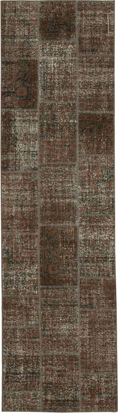 "Patchwork Hand-Knotted Turkish Rug - 2' 10"" x 10'  (34 in. x 120 in.)"