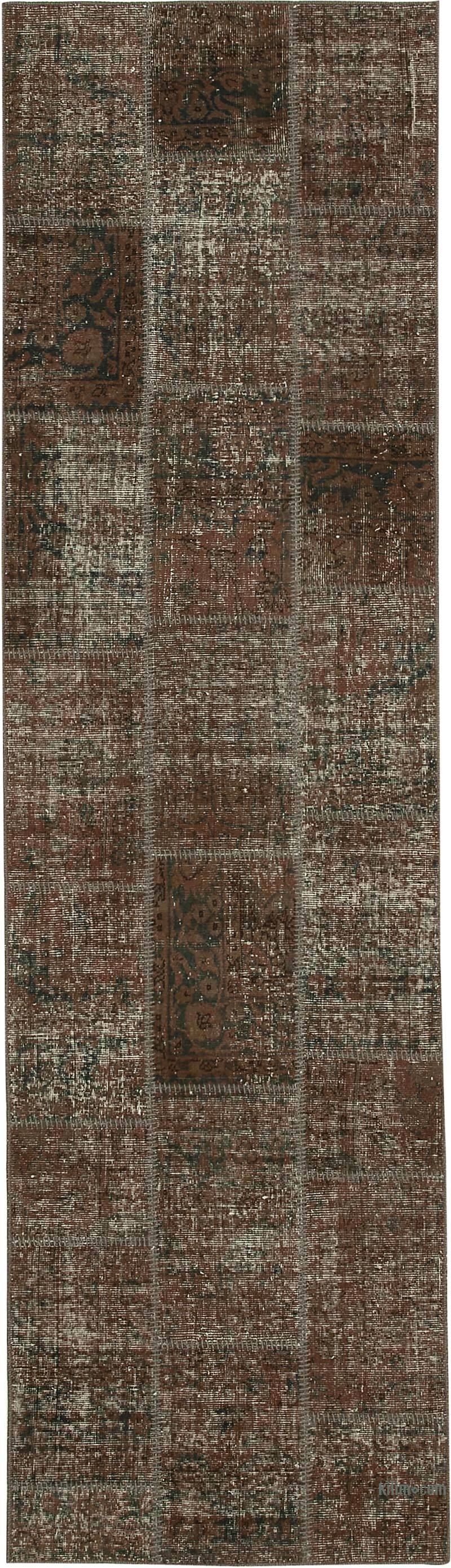 """Brown Patchwork Hand-Knotted Turkish Runner - 2' 10"""" x 10'  (34 in. x 120 in.) - K0049655"""