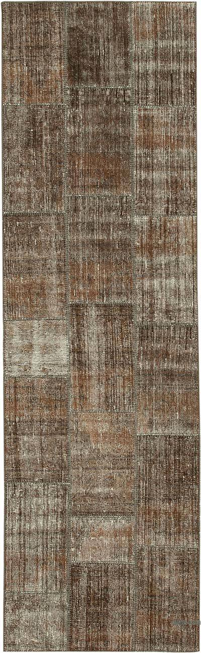 """Over-dyed Turkish Patchwork Runner Rug - 2' 9"""" x 9' 3"""" (33 in. x 111 in.)"""