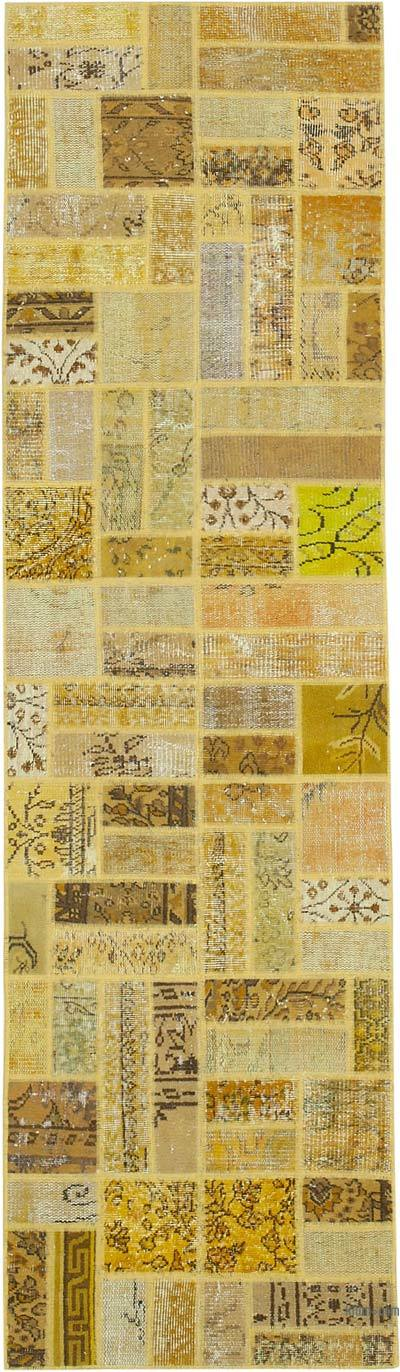 """Over-dyed Turkish Patchwork Runner Rug - 2' 7"""" x 9' 1"""" (31 in. x 109 in.)"""