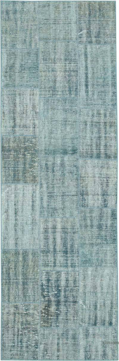 "Over-dyed Turkish Patchwork Runner Rug - 2' 9"" x 8' 7"" (33 in. x 103 in.)"