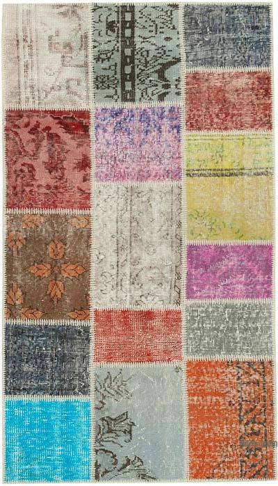 "Over-dyed Turkish Patchwork Runner Rug - 3' 1"" x 5' 4"" (37 in. x 64 in.)"