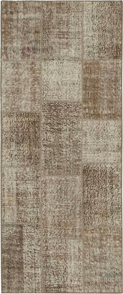 "Over-dyed Turkish Patchwork Runner Rug - 2' 10"" x 6' 9"" (34 in. x 81 in.)"