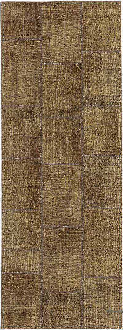 """Patchwork Hand-Knotted Turkish Rug - 2' 10"""" x 7' 7"""" (34 in. x 91 in.)"""