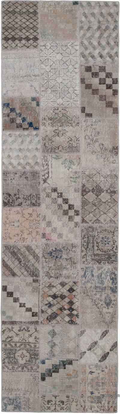"""Over-dyed Turkish Patchwork Runner Rug - 2' 10"""" x 9' 10"""" (34 in. x 118 in.)"""
