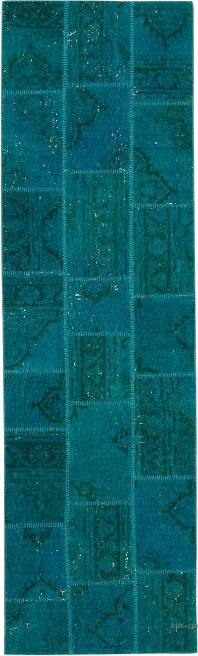 """Over-dyed Turkish Patchwork Runner Rug - 2' 9"""" x 9' 6"""" (33 in. x 114 in.)"""