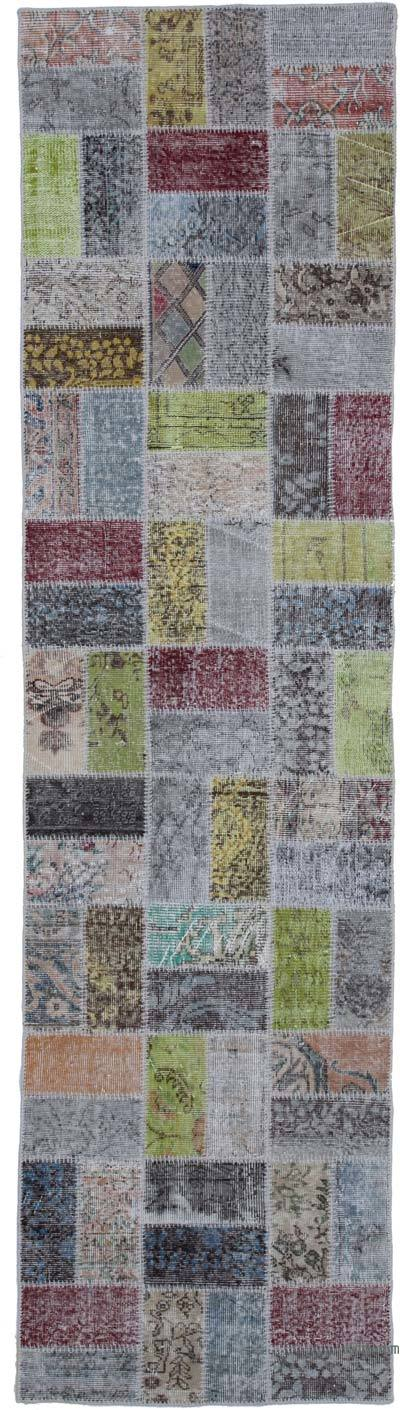 """Over-dyed Turkish Patchwork Runner Rug - 2' 10"""" x 10' 7"""" (34 in. x 127 in.)"""