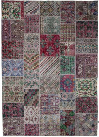 "Hand-knotted Turkish Patchwork Rug - 8' 1"" x 11' 6"" (97 in. x 138 in.)"