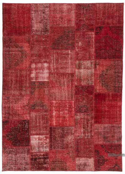 """Red Patchwork Hand-Knotted Turkish Rug - 8' 2"""" x 11' 5"""" (98 in. x 137 in.)"""