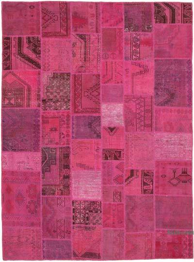 """Pink Patchwork Hand-Knotted Turkish Rug - 8' 5"""" x 11' 3"""" (101 in. x 135 in.)"""