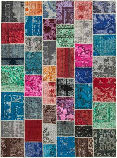 """Hand-knotted Turkish Patchwork Rug - 8' 4"""" x 11' 4"""" (100 in. x 136 in.)"""