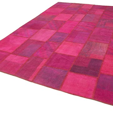 """Pink Patchwork Hand-Knotted Turkish Rug - 8' 4"""" x 11' 6"""" (100 in. x 138 in.) - K0049715"""
