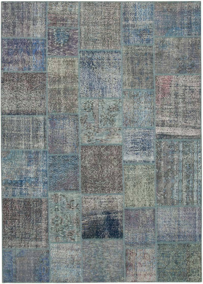 Mavi Boyalı Patchwork Halı - 251 cm x 354 cm - K0049719