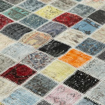 """Multicolor Patchwork Hand-Knotted Turkish Rug - 8' 5"""" x 11' 6"""" (101 in. x 138 in.) - K0049740"""
