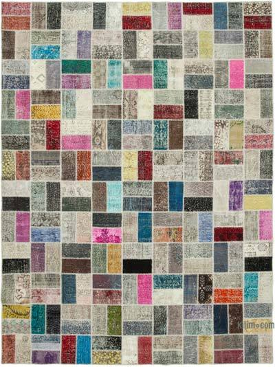 """Hand-knotted Turkish Patchwork Rug - 8' 8"""" x 11' 6"""" (104 in. x 138 in.)"""