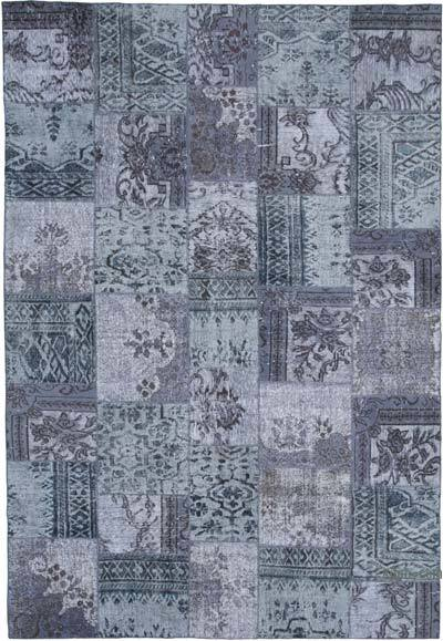 "Hand-knotted Turkish Patchwork Rug - 8'  x 11' 8"" (96 in. x 140 in.)"